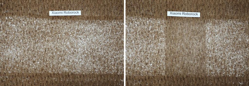 Nettoyage d'un tapis sali par la farine par le Xiaomi mi roborock s50 v2